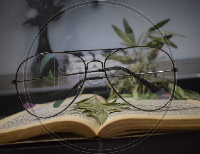 Glasses on books with Satbargha leaves