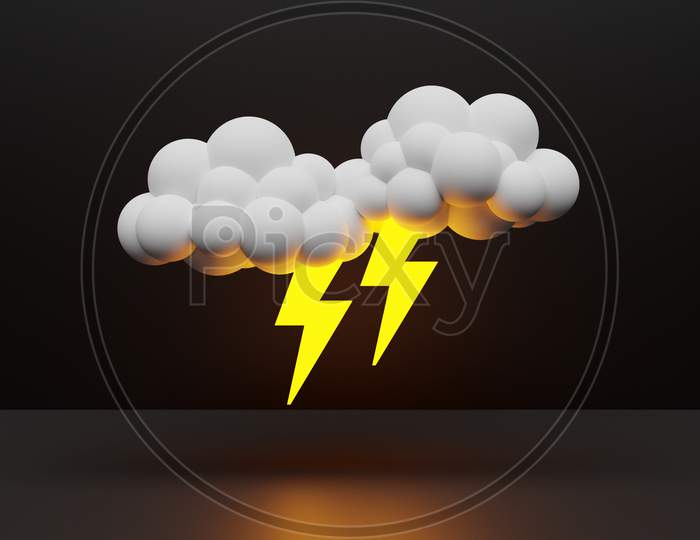 3D Illustration Of Clouds With Lightning   On A Black  Isolated Background. Weather Forecast Icons, Regular Season Clouds