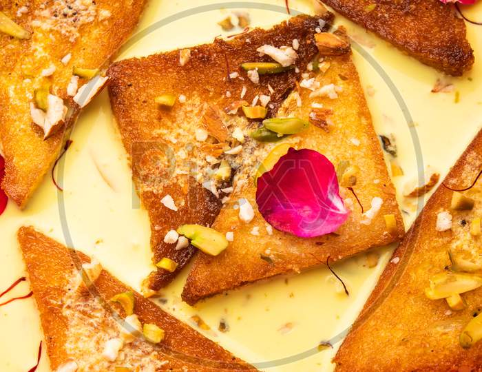 Shahi Tukda Or Tukra Also Known As Double Ka Meetha Is A Rich & Festive Indian Dessert Made With Bread, Ghee, Sugar, Milk And Nuts