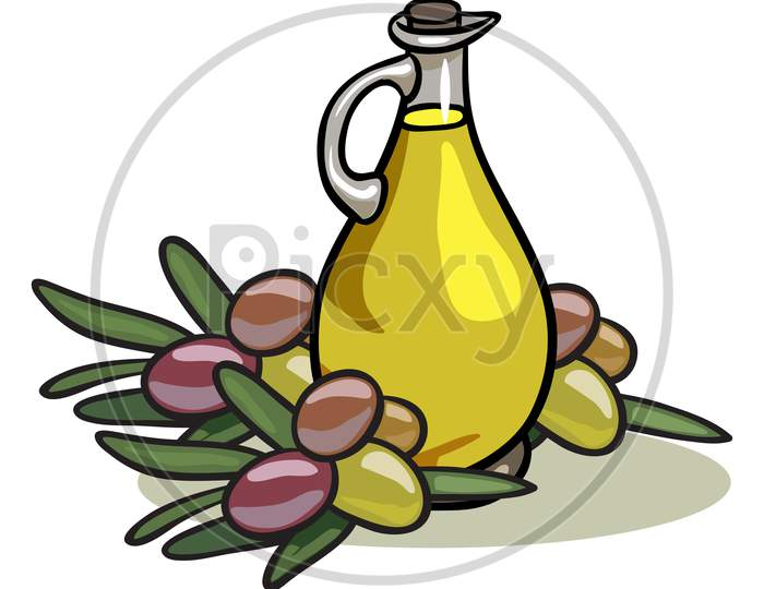Fresh Olive Oil And Fruits