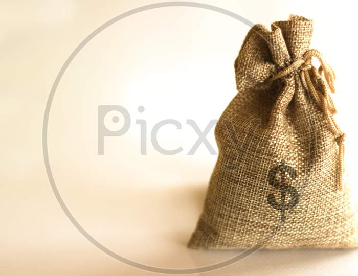 A View Of A Money Bag With Dollar Sign Stock Photo